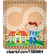 Clipart Of A Parchment Border Of A Cheering School Boy Outside A Building Royalty Free Vector Illustration