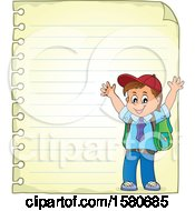 Clipart Of A Cheering School Boy Over A Sheet Of Ruled Paper Royalty Free Vector Illustration