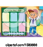 Clipart Of A Cheering School Boy By A Timetable Royalty Free Vector Illustration