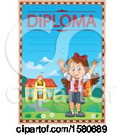 Clipart Of A Cheering School Girl On A Diploma Royalty Free Vector Illustration