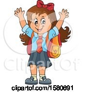 Clipart Of A Cheering School Girl Royalty Free Vector Illustration by visekart