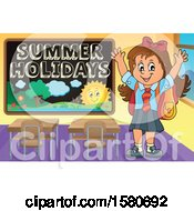 Cheering School Girl By A Summer Holidays Black Board