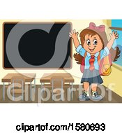 Cheering School Girl By A Black Board
