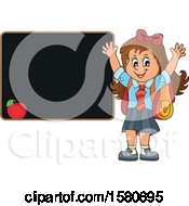 Clipart Of A Cheering School Girl By A Black Board Royalty Free Vector Illustration