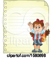 Clipart Of A Cheering School Girl Over Ruled Paper Royalty Free Vector Illustration