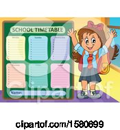 Cheering School Girl By A Timetable