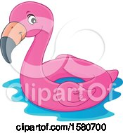 Clipart Of A Pink Flamingo Swim Float Inner Tube Royalty Free Vector Illustration