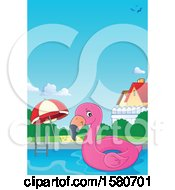 Clipart Of A Border Of A Pink Flamingo Swim Float Inner Tube In A Pool Royalty Free Vector Illustration by visekart