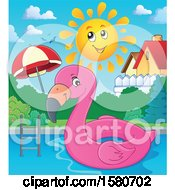 Clipart Of A Pink Flamingo Swim Float Inner Tube In A Pool Royalty Free Vector Illustration by visekart