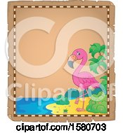 Clipart Of A Parchment Border Of A Pink Flamingo Bird On A Beach Royalty Free Vector Illustration by visekart