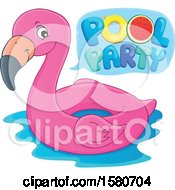 Clipart Of A Pink Flamingo Swim Float Inner Tube With Pool Party Text Royalty Free Vector Illustration by visekart