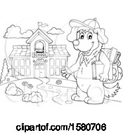 Clipart Of A Lineart School Dog Outside A Building Royalty Free Vector Illustration