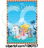 Clipart Of A Girl Floating On A Unicorn Swim Toy On A Diploma Royalty Free Vector Illustration