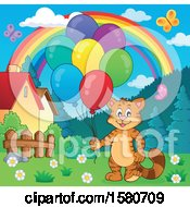 Ginger Cat Holding Party Balloons Under A Rainbow