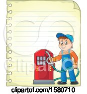 Gas Station Attendant Holding A Nozzle Over Ruled Paper