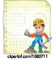 Miner Holding Ore Over Ruled Paper
