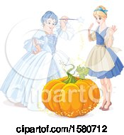 Fairy Godmother Holding A Magic Wand Over A Pumpkin To Make A Coach For Cinderella