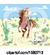 Clipart Of A Horseback Western Cowboy Riding Through A Desert Royalty Free Vector Illustration