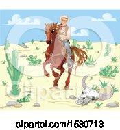 Poster, Art Print Of Horseback Western Cowboy Riding Through A Desert