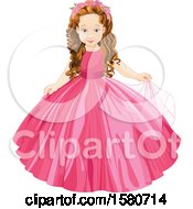 Clipart Of A White Girl Princess With A Crown Of Roses And A Pink Gown Royalty Free Vector Illustration