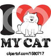 Clipart Of A Kitty On An I Love My Cat Design Royalty Free Vector Illustration