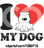 Clipart Of A Canine On An I Love My Dog Design Royalty Free Vector Illustration