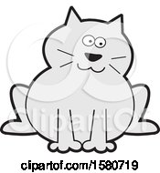 Clipart Of A Sitting Chubby Gray Kitty Cat Royalty Free Vector Illustration