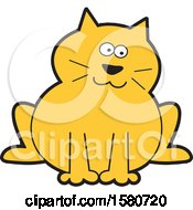 Clipart Of A Sitting Chubby Orange Kitty Cat Royalty Free Vector Illustration
