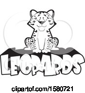Clipart Of A Black And White Sitting Happy Leopard On Text Royalty Free Vector Illustration by Johnny Sajem