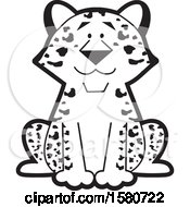 Clipart Of A Black And White Sitting Happy Leopard Royalty Free Vector Illustration