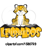 Clipart Of A Sitting Happy Leopard With Text Royalty Free Vector Illustration