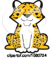 Clipart Of A Sitting Happy Leopard Royalty Free Vector Illustration by Johnny Sajem