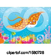 Clipart Of A Stingray Fish Swimming Over A Reef Royalty Free Vector Illustration