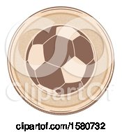Clipart Of A Soccer Ball On A Brown Round Border Royalty Free Vector Illustration