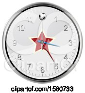 Clipart Of A Soccer Ball And Star On A Wall Clock Royalty Free Vector Illustration
