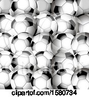 Clipart Of A Background Of 3d Soccer Balls Royalty Free Vector Illustration