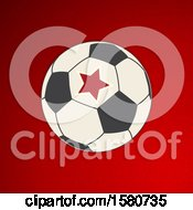 Clipart Of A Soccer Ball With A Star Over Red Royalty Free Vector Illustration