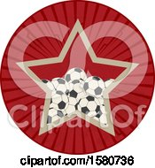 Clipart Of A Retro Star In A Circle With Soccer Balls Royalty Free Vector Illustration