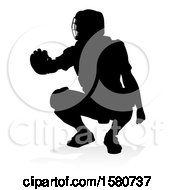 Poster, Art Print Of Black Silhouetted Baseball Player Catcher With A Reflection Or Shadow On A White Background