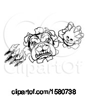 Clipart Of A Black And White Tough Bulldog Monster Sports Mascot Holding Out A Bowling Ball In One Clawed Paw And Breaking Through A Wall Royalty Free Vector Illustration