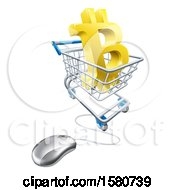 Poster, Art Print Of 3d Gold Bitcoin Currency Symbol In A Shopping Cart With A Connected Computer Mouse