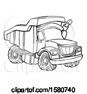 Clipart Of A Line Art Dump Truck Royalty Free Vector Illustration
