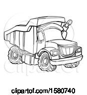 Poster, Art Print Of Line Art Dump Truck