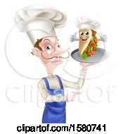 Clipart Of A White Male Chef Holding A Souvlaki Kebab Sandwich On A Tray Royalty Free Vector Illustration