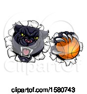 Clipart Of A Black Panther Mascot Breaking Through A Wall With A Basketball Royalty Free Vector Illustration
