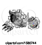 Clipart Of A Tough Rhino Monster Mascot Holding A Video Game Controller And Breaking Through A Wall Royalty Free Vector Illustration by AtStockIllustration