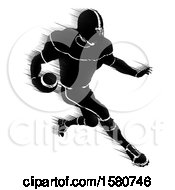 Clipart Of A Silhouetted Action Blurred Black And White Football Player Charging Royalty Free Vector Illustration