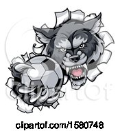 Poster, Art Print Of Tough Wolf Monster Mascot Holding Out A Soccer Ball In One Clawed Paw And Breaking Through A Wall