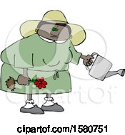 Cartoon Black Woman Holding A Flower Ready To Be Planted And A Watering Can