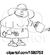 Cartoon Lineart Black Woman Holding A Flower Ready To Be Planted And A Watering Can